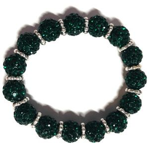 Jewelry - Green and silver disco ball bracelet